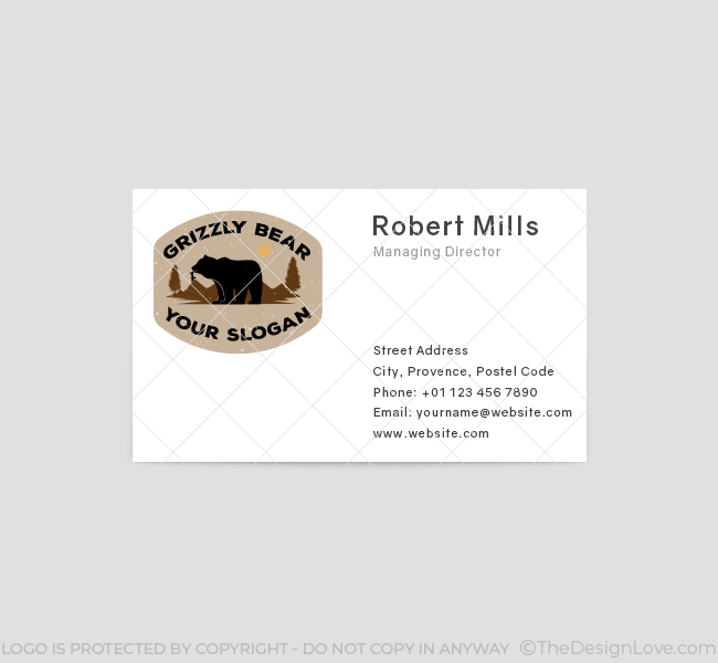 638-Simple-Grizzly-Bear-Business-Card-Front