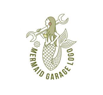 Mermaid Mechanic Logo & Business Card Template