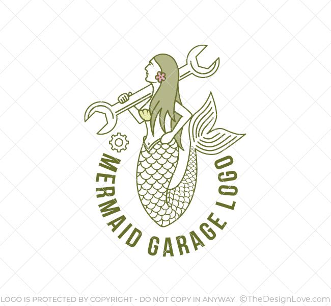 618-Mermaid-Mechanic-Logo-Template