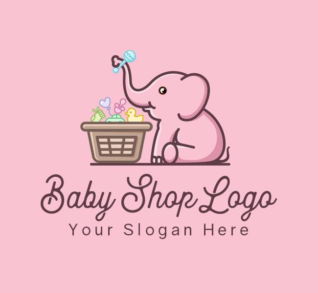 634-Baby-Elephant-Stock-Logo